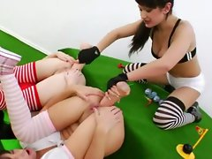 Three anus queens and brutal vibrating sex toys