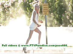 Liz attractive tempting blonde female getting nake in the excellent outdoor