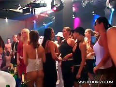 Clothed dripping vixens stripping at a horny party orgy