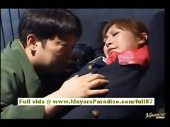 Chihiro Hara Slutty Asian moidel is tied up in jail and gets a sex train