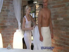 Massage Rooms 18 years old tempting blonde masseuse has squirting orgasm over oiled hunk