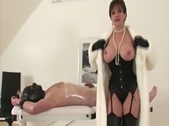 Buxom sexual experienced in stockings wanking tied down dude