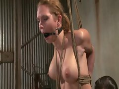 Tied down chesty blondie punished roughly