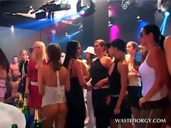 Clothed dampish nymphos stripping at a dirty party orgy