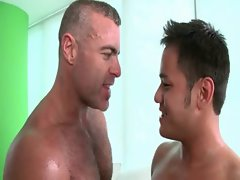 Lusty gay masseur gets barebacked on massage table
