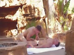 Gay hunk lovers outdoors