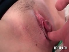 Redhead sensual japanese gets pinky twat finger teased in close-up