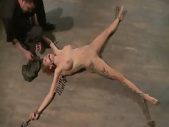Hogtied bdsm lady clamped by her master