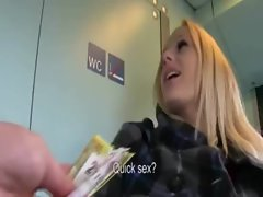 Whorish tempting blonde slutty girl payed and creampied in the train toilet