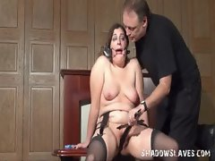 Bizarre domination of machine banged amateur redhead slave