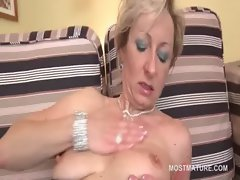 Tempting blonde cunt screws her solid alluring pussy with toy