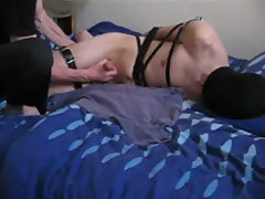 My boi hogtied and made to cum