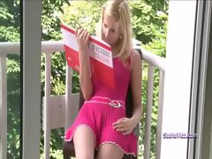 Sasha tempting blonde masturbating on balcony