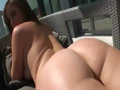 Sunbathing chesty bombshell ends up getting her tense dirty ass drilled by a stiff pecker