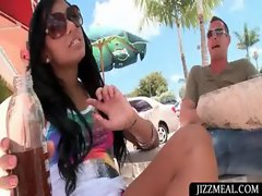 Dark haired sassy teen in sunglasses gets talked into sex