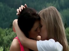 Outdoor filthy lesbo sex with two seductive teen sex sirens
