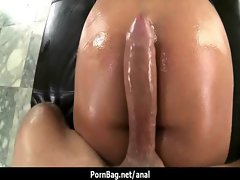 Pornstar has her stunning anal oiled up and banged rough 32