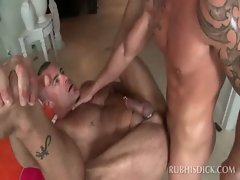 Attractive gay masseur accepts huge shaft in his randy butt