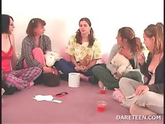 College raunchy randy chicks play truth or dare for sex