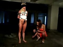 Unrelenting domina vibrating submissives clit