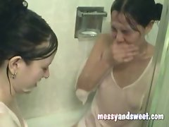 couple barely legal teen slutty chicks taking a bath