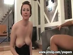 Slutty mom helps a lad to fuck a stiff bum