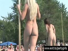 Scandalous public naked party with a lot of models