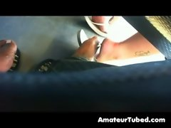 Try to get into footsie with sizzling teen on bus