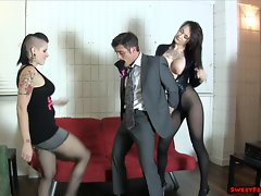 Goth gal and friend break her boss BALLBUSTING Lesbos