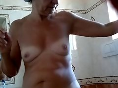 my mother-in-law spied in the shower... bushy snatch