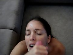 She loves taking a load of cum in her face