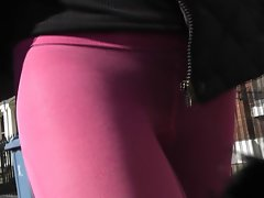 pinkish tights wandering about