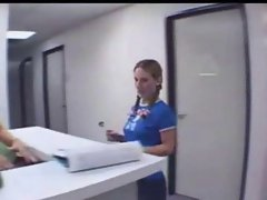 Sweet tempting blonde sassy teen at the doctor