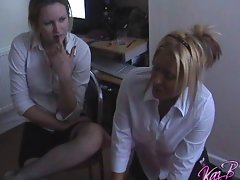 College uniformed models Kaz and Amber play truth or dare