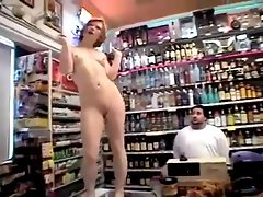 Redhead naked in the store