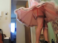 Sissy Ray Twirling in pinkish sissy dress for Mike