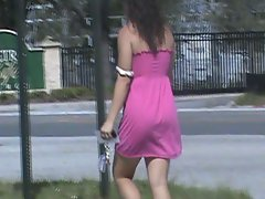 Candid Butt in pinkish dress