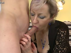 Alluring attractive mature mamma banged by 19 years old fellow