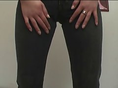 asian vixen gets snatch stimulation with jeans on