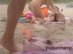 Wives Teasing Naked Beach Voyeurs & Gives One A Handjob!