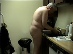 WORKING Naked IN KITCHEN