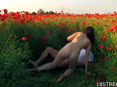 Bawdy sex at poppy field