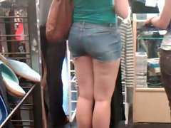 Naughty bum and Long Legs in Jeans Shorts
