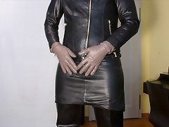 Leather-clad cum shower