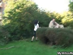 Slutty wife catches his cheating outdoor