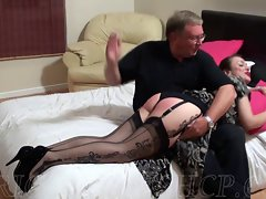 Cougar Wearing Nylons Gets Spanked