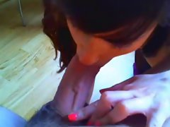 Slutty wife throat banged by her man b4 giving BJ