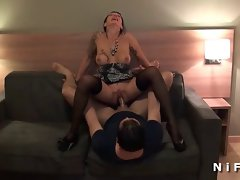 Buxom french experienced rough asshole banged by two fellows