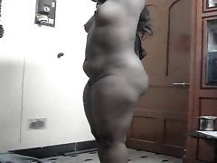 Buxom southindian wife's Naked Body and try to wear blouse
