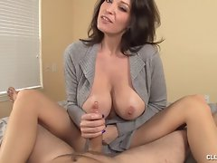 Big titted Mommy In Cardigan Handjob
